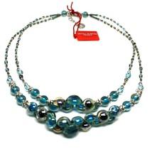 Necklace Antica Murrina Venezia with Murano Glass Light Blue and Blue CO... - $204.17