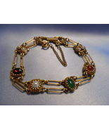 Vintage Retro GOLDETTE NY Bracelet with Stones and Pearls - 7 inches long - £30.59 GBP