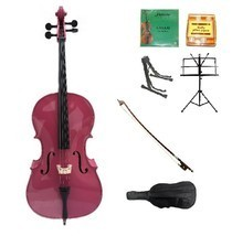 Merano 4/4 Size Hot Pink Cello,Bag,Bow+Extra Strings+2 Stands+Tuner+Rosin - $459.99