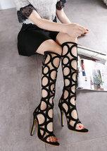 PS233 Elegant gliaditor sandals in circular grapic, PU leather, size 35-40,BLACK - $68.80