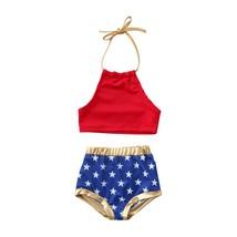 New 2PCS Summer Kids Baby Girl 4th of July Swimwear Swimsuit Bathing Sui... - $8.69