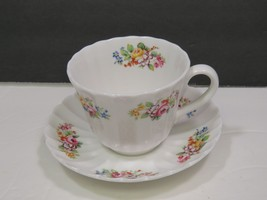Spode Fluted Floral Tea Cup Saucer White - $14.85