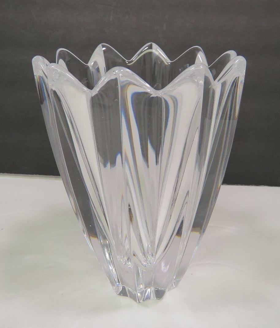 orrefors sweden jan johansson designed fleur crystal vase signed 6 orrefors. Black Bedroom Furniture Sets. Home Design Ideas