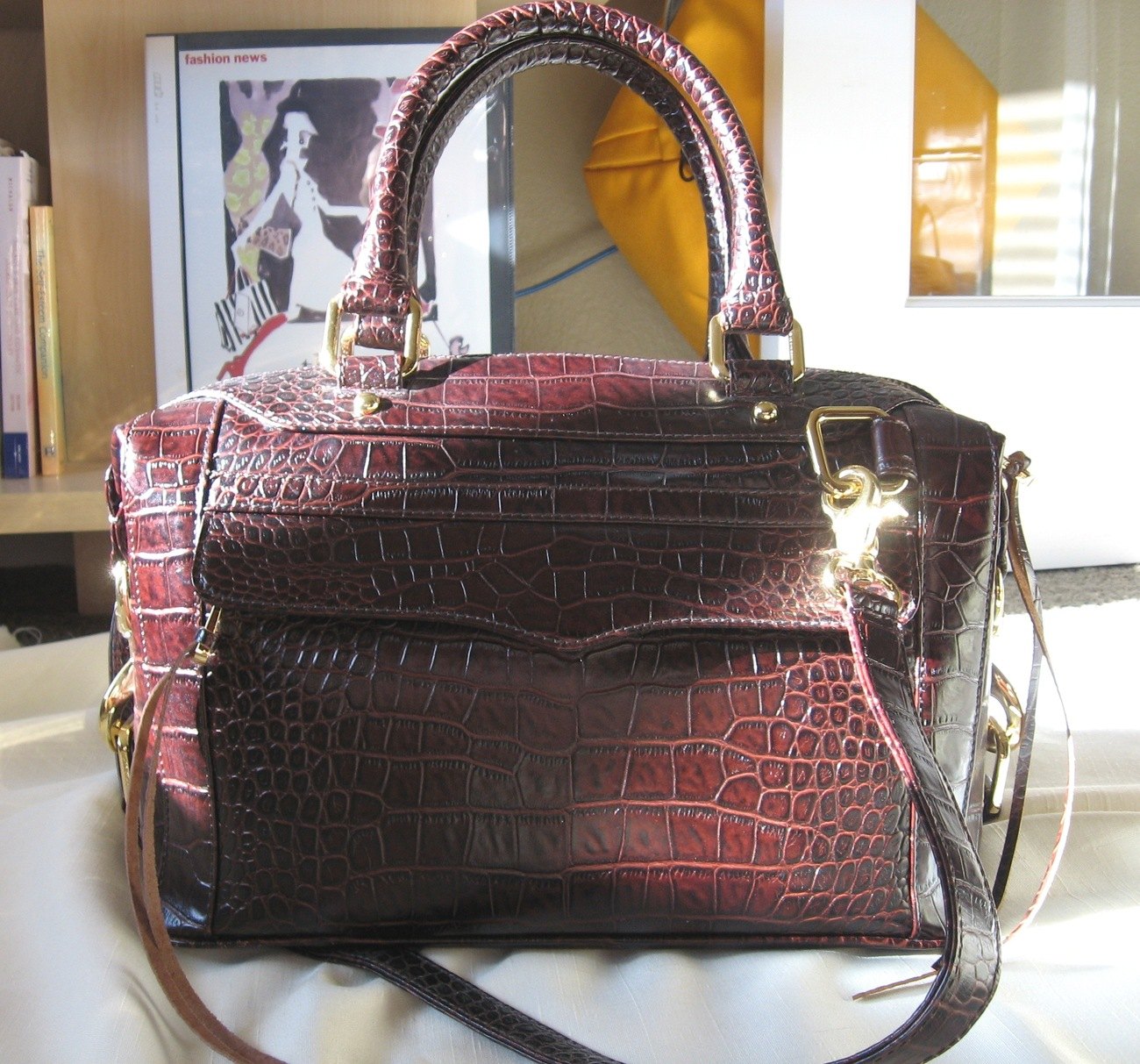 Primary image for Rebecca Minkoff Mini Morning After Bag - Brown Embossed Croc