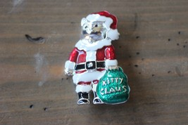Vintage Danecraft Enamel Kitty Claus Santa Christmas Brooch - $29.69