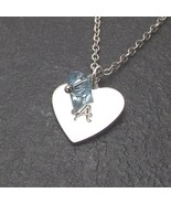 Personalized Heart Necklace Custom Initial Swarovski Birthstone Crystal ... - $19.99+