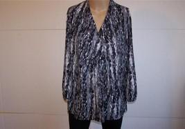 ALFANI Shirt Top Sz XL Gray Black Abstract Span... - $13.96