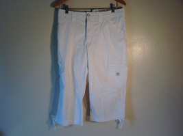 "Lee Women's Size 10 / M Capris Cropped Cargo Pants White Cotton Twill 19"" Inseam"