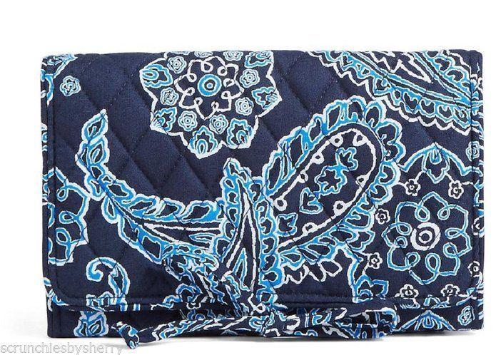 Vera Bradley All Wrapped Up Jewelry Roll Travel Case Blue Bandana Magenta