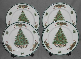 Set (4) Johnson Brothers VICTORIAN CHRISTMAS PATTERN Dinner Plates ENGLAND - $69.29