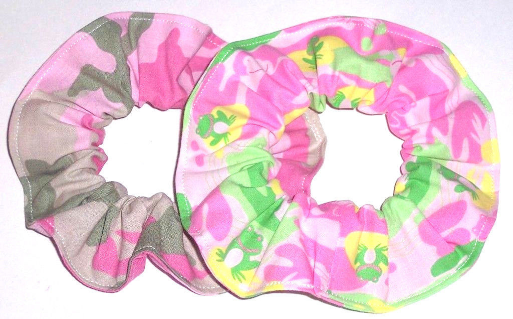 2 Camo Frogs Fabric Hair Scrunchies by Sherry Scrunchie Cotton Blend Pink Green - $13.95