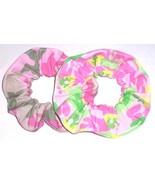 2 Camo Frogs Fabric Hair Scrunchies by Sherry Scrunchie Cotton Blend Pin... - $13.95