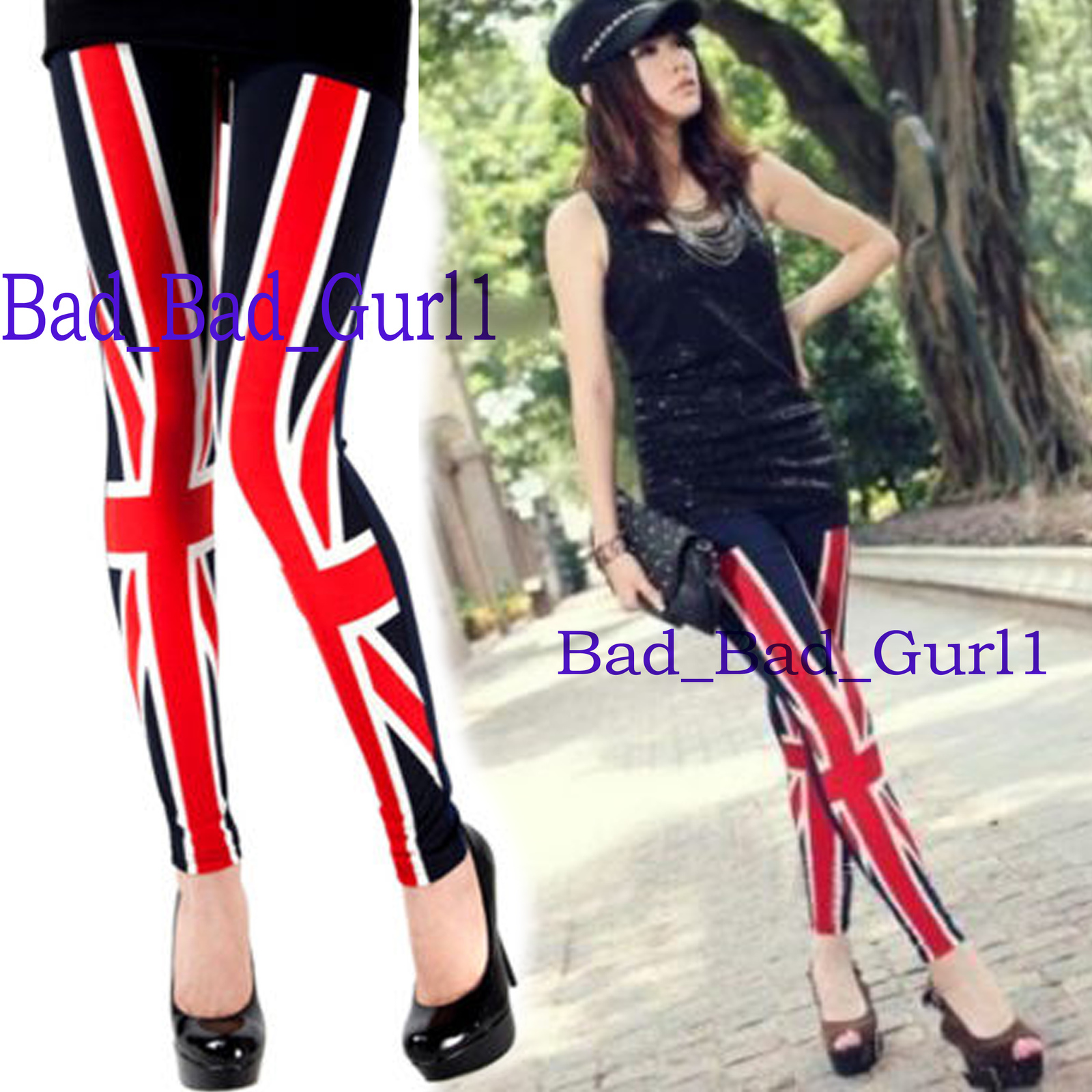 Primary image for Union Jack UK Flag Punk England British Goth Leggings Slim Leggings Pencil Pants