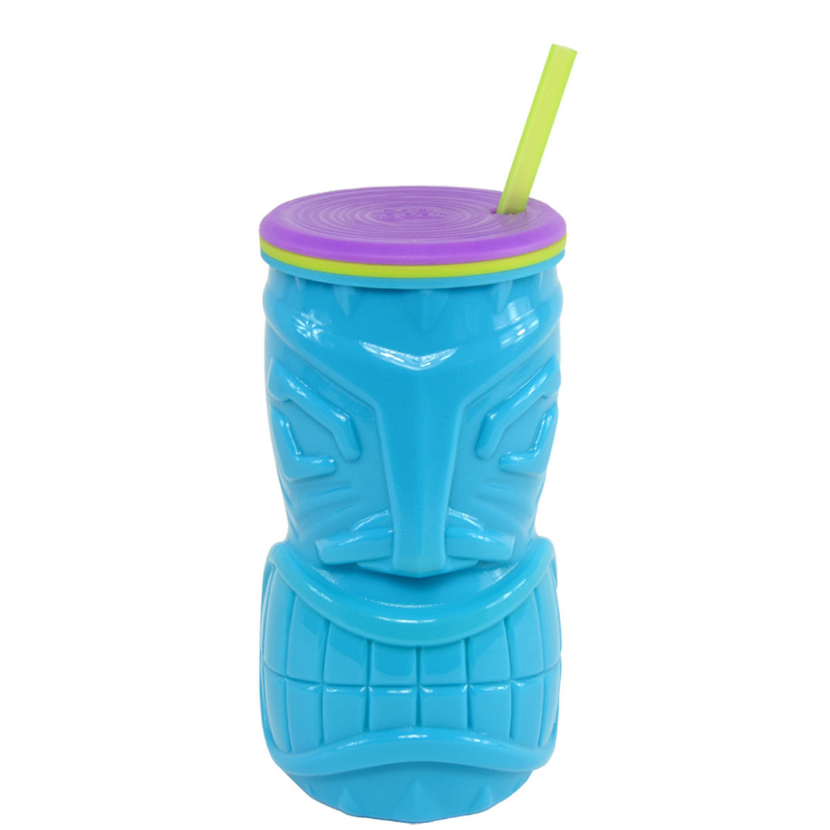 Cool Gear Blue 16oz Tiki God Mask Double Wall Tumbler BPA FREE Hawaiian NWT