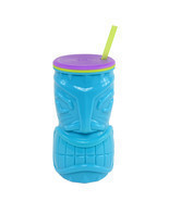 Cool Gear Blue 16oz Tiki God Mask Double Wall Tumbler BPA FREE Hawaiian NWT - £11.85 GBP