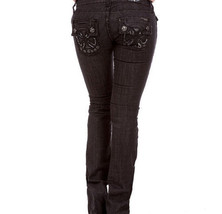 SEXY BLACK STRETCH DENIM Faux LEATHER CROSS LOW-RISE JEANS XS/S/M/L 23/2... - $14.95