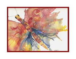 Watercolor Red Butterfly Cards Notecards Note Cards, Butterfly Print,But... - $15.00