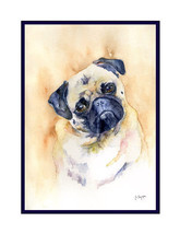 Watercolor Pug Dog Note Cards, Notecards, Pug Prints, Pug Art - $15.00