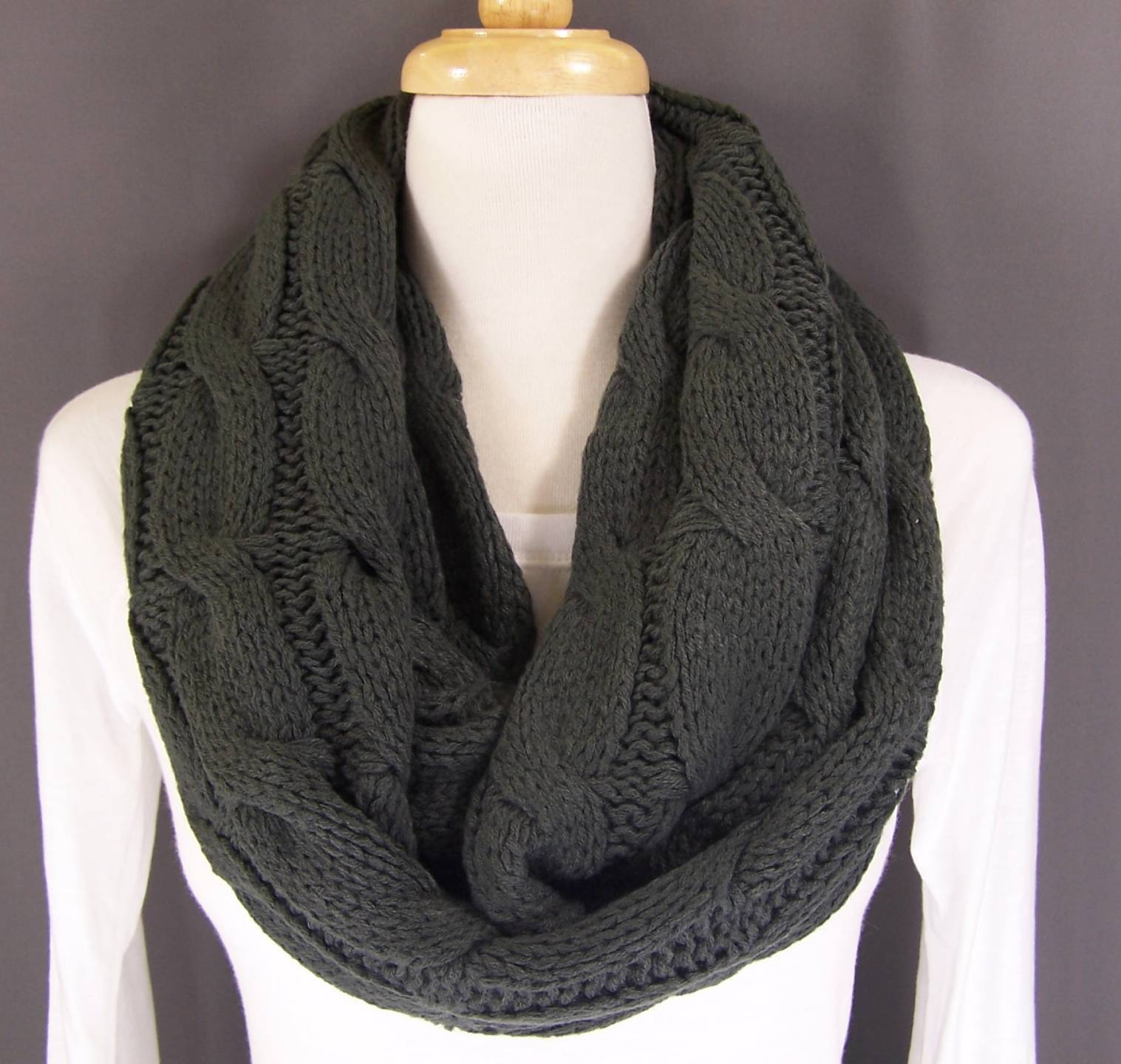 Cable knit chunky circle infinity endless loop long super soft scarf cowl - S...