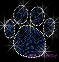 "Large ROYAL BLUE Paw Print 7"" X 7"" - Iron on Rhinestone Transfer Bling H... - $8.99"
