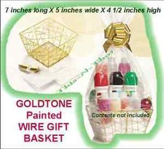 Gift Basket Goldtone Painted Metal Wire Gift Basket-NEW-Sealed-Empty-No ... - $9.85