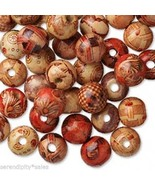 100 PAINTED Pattern WOOD ART BEADS 12mm ROUND~Wooden - $8.23