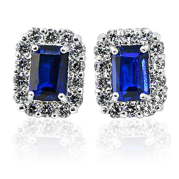 2.49CT HALO EMERALD CUT BLUE SAPPHIRE STUD EARRINGS 14K WHITE GOLD PUSH BACK