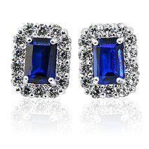 2.49CT HALO EMERALD CUT BLUE SAPPHIRE STUD EARRINGS 14K WHITE GOLD PUSH ... - $41.56