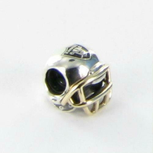 Pandora NFL Raiders Football Helmet Charm USB790570-G123 14k Gold Sterling New