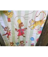 Circus Fabric Striped with Animals Hippo Monkey Lion Rabbit Cat Dog - $25.00