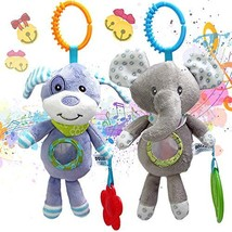 2 PICS Plush Adorable Animal Car Seat Hanging Rattle Toy for Infant Baby - Kids
