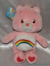 "NEW 2002 CARE BEARS Plush 11"" Candy Pink CLASSIC CHEER BEAR Rainbow Bell... - $24.18"