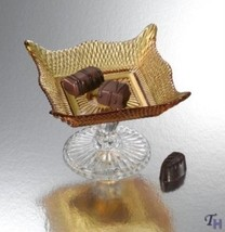 AMBER PLATE ON FOOT - CRYTAL AMBER SQUARE PLATE... - $14.50