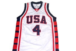 Allen Iverson #4 Team USA New Men Basketball Jersey White Any Size image 2