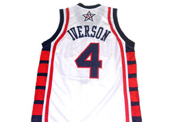 Allen Iverson #4 Team USA New Men Basketball Jersey White Any Size image 4