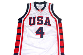 Allen Iverson #4 Team USA New Men Basketball Jersey White Any Size image 5