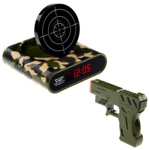 Gun Alarm Clock Target Wake Up Shooting Game Toy Novelty: Gun Alarm Clock Shooting Target LCD Display Wake Up