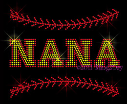 NANA - Softball Stitch - Iron on Rhinestone Transfer Bling Hot Fix Sport... - $8.99