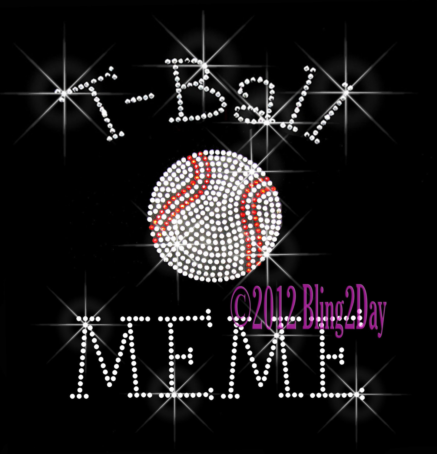 Primary image for T-Ball MEME - C - Iron on Rhinestone Transfer Bling Hot Fix Sports Kids - DIY
