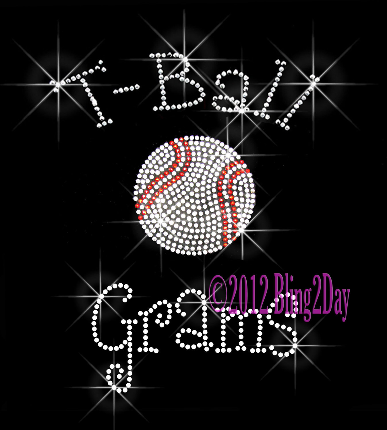 Primary image for T-Ball Grams - C - Iron on Rhinestone Transfer Bling Hot Fix Sports Kids - DIY