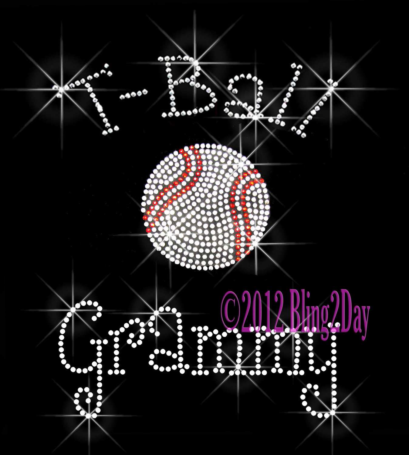 Primary image for T-Ball Grammy - C - Iron on Rhinestone Transfer Bling Hot Fix Sports Kids - DIY