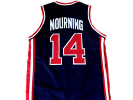 Alonzo Mourning #14 Team USA Basketball Jersey Navy Blue Any Size image 2