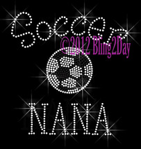 Soccer NANA - C - Iron on Rhinestone Transfer Bling Hot Fix Sports Schoo... - $8.99