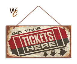 Retro CINEMA Sign, Get Your Tickets Here, Movie Theater Decor 5 x 10 Wood Sign - $12.87