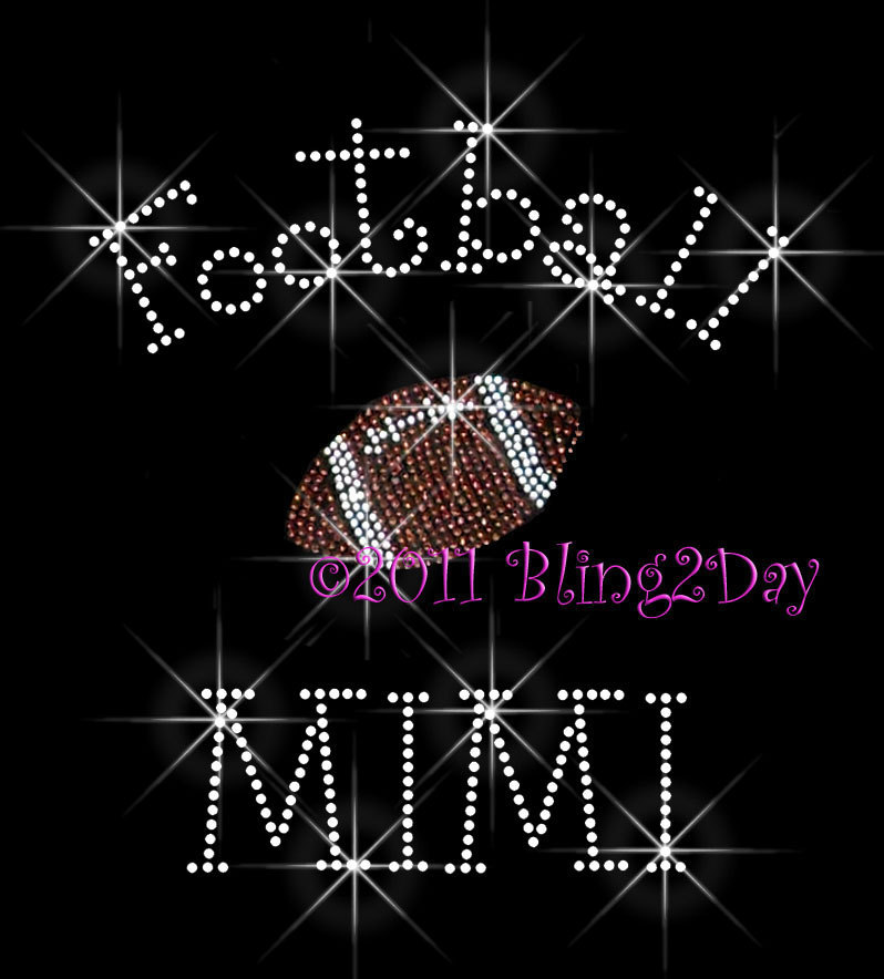 Primary image for Football MIMI - C - Iron on Rhinestone Transfer Bling Hot Fix Sports - DIY