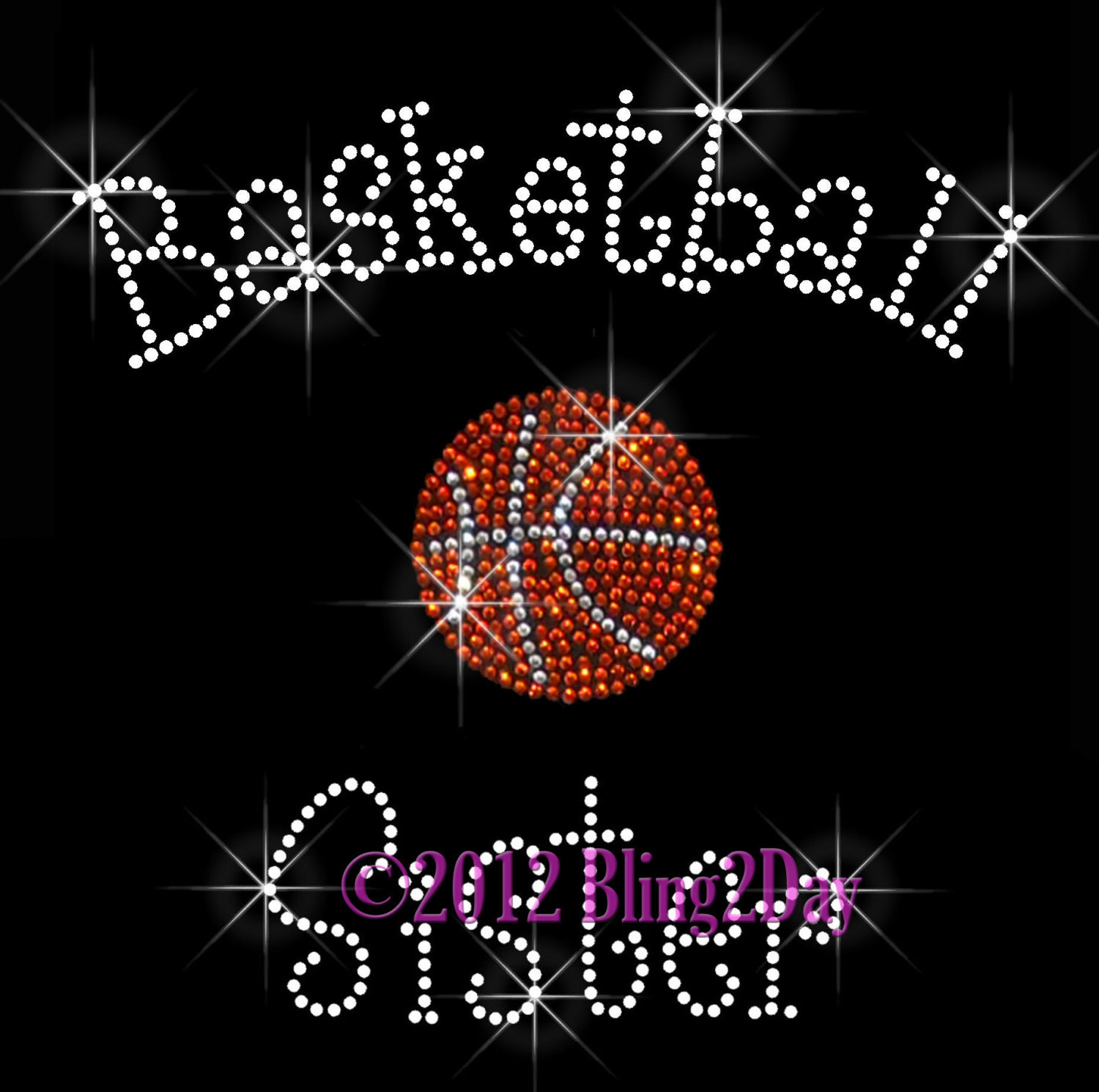 Primary image for Basketball Sister - C - Iron on Rhinestone Transfer Bling Hot Fix Sports School