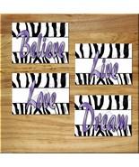 Purple Black White ZEBRA Wall Art Prints Decor Love Dream Believe Live B... - $13.51