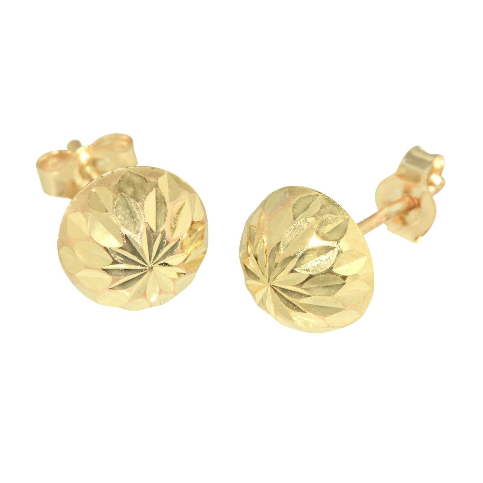 14k Two-Tone Gold 6mm Half Huggies Earrings With Push Back, 13mm X 10mm