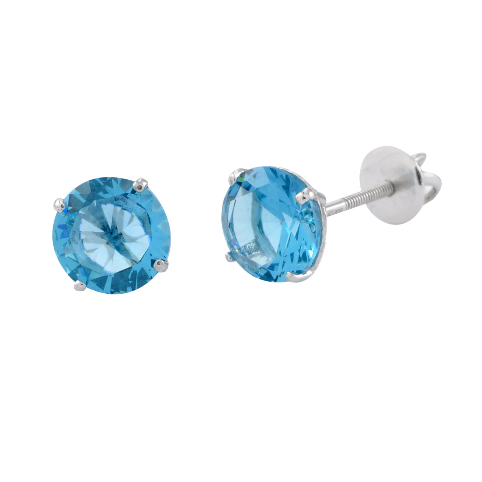 925 Sterling Silver Solitaire CZ Screw Back Stud Earrings Round Blue Topaz - $13.26 - $18.71