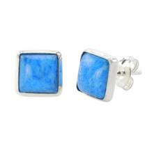 Denim Lapis Gemstone Earrings Sterling Silver 9mm Square - $14.24